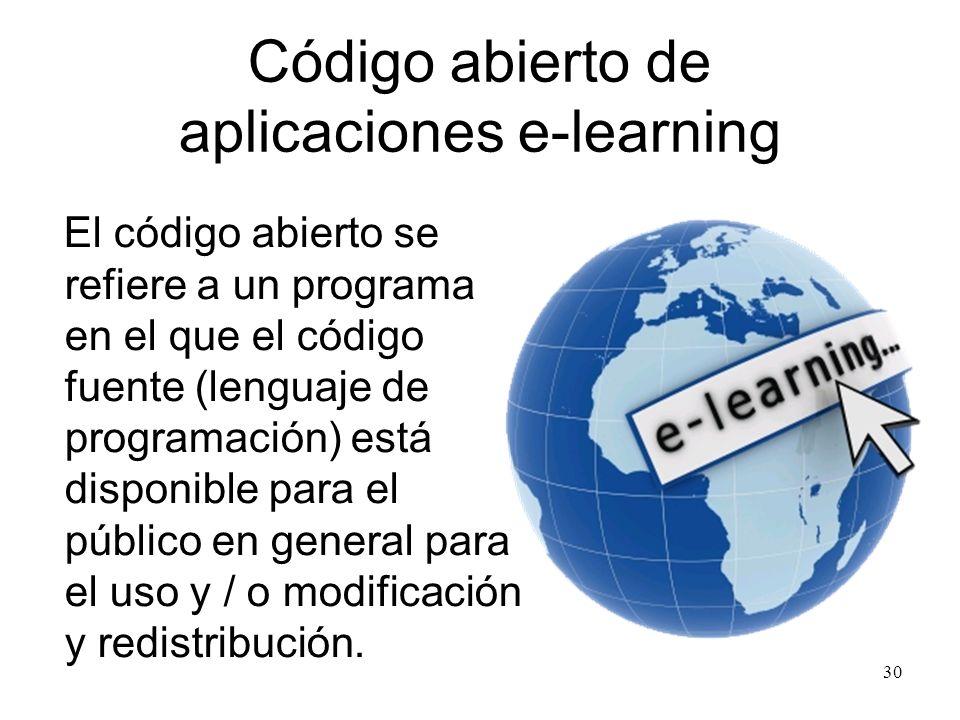 Código abierto de aplicaciones e-learning