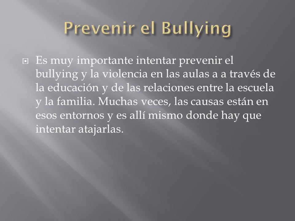 Prevenir el Bullying
