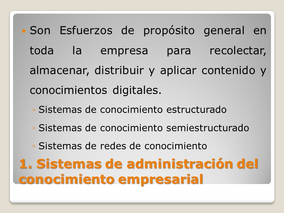 1. Sistemas de administración del conocimiento empresarial