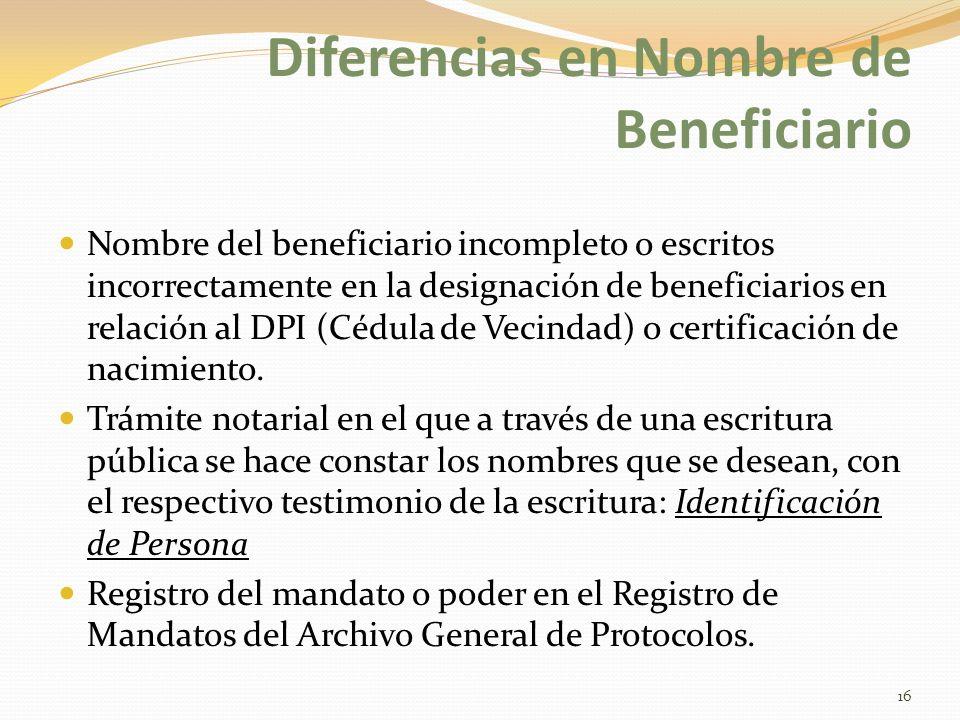 Diferencias en Nombre de Beneficiario
