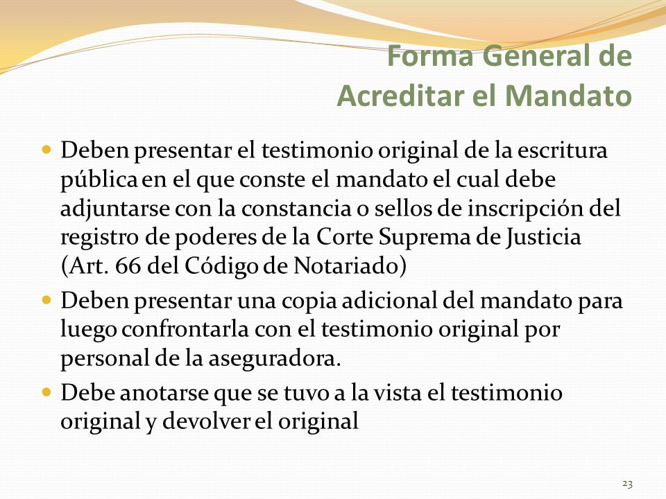 Forma General de Acreditar el Mandato