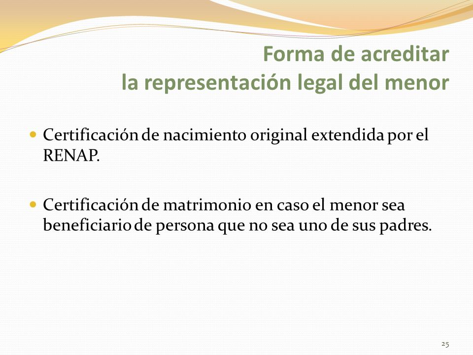 Forma de acreditar la representación legal del menor