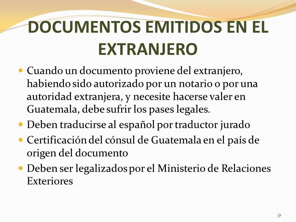 DOCUMENTOS EMITIDOS EN EL EXTRANJERO