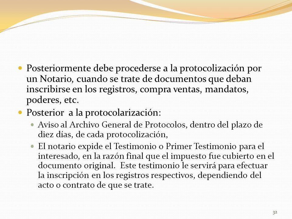 Posterior a la protocolarización: