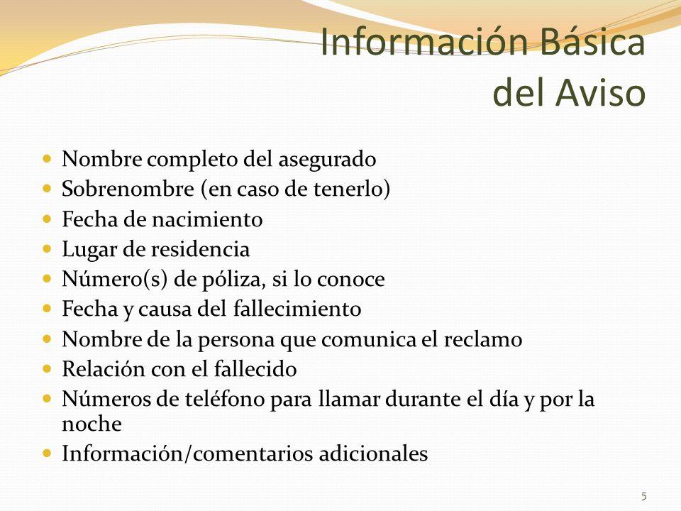 Información Básica del Aviso