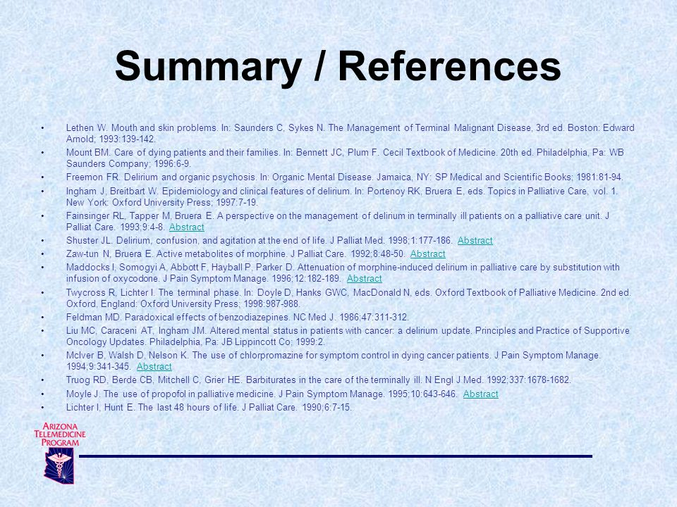 Summary / References