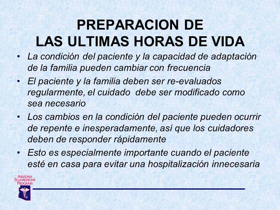 PREPARACION DE LAS ULTIMAS HORAS DE VIDA