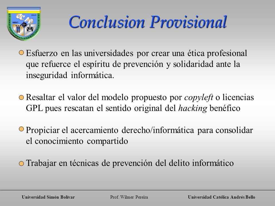 Conclusion Provisional