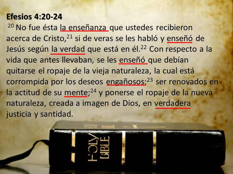 Efesios 4:20-24 20 No fue ésta la enseñanza que ustedes recibieron acerca de Cristo,21 si de veras se les habló y enseñó de Jesús según la verdad que está en él.22 Con respecto a la vida que antes llevaban, se les enseñó que debían quitarse el ropaje de la vieja naturaleza, la cual está corrompida por los deseos engañosos;23 ser renovados en la actitud de su mente;24 y ponerse el ropaje de la nueva naturaleza, creada a imagen de Dios, en verdadera justicia y santidad.