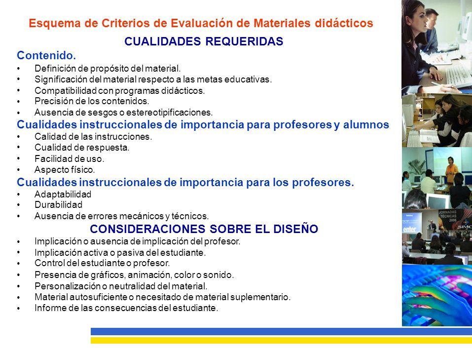Esquema de Criterios de Evaluación de Materiales didácticos