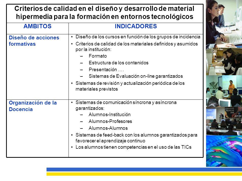 Criterios de calidad en el diseño y desarrollo de material hipermedia para la formación en entornos tecnológicos