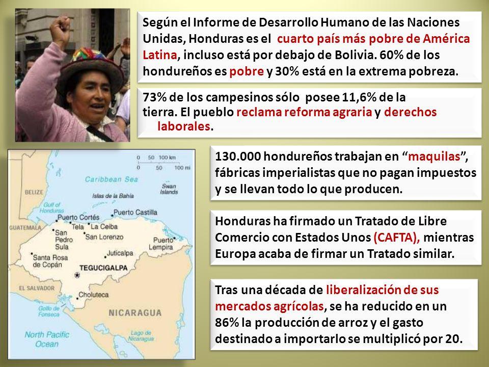 Según el Informe de Desarrollo Humano de las Naciones Unidas, Honduras es el cuarto país más pobre de América Latina, incluso está por debajo de Bolivia. 60% de los hondureños es pobre y 30% está en la extrema pobreza.