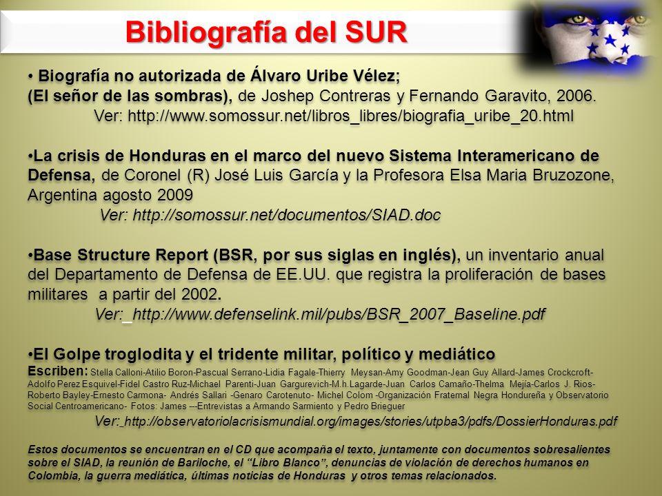 Bibliografía del SUR Biografía no autorizada de Álvaro Uribe Vélez;