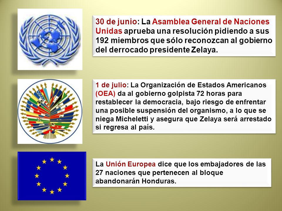 30 de junio: La Asamblea General de Naciones Unidas aprueba una resolución pidiendo a sus 192 miembros que sólo reconozcan al gobierno del derrocado presidente Zelaya.