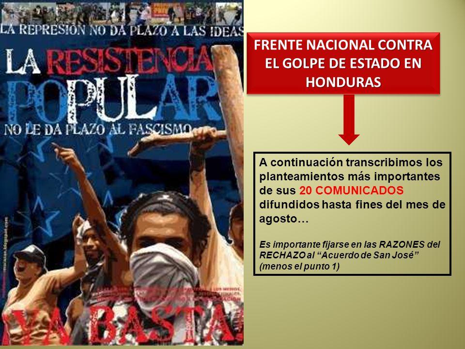 FRENTE NACIONAL CONTRA EL GOLPE DE ESTADO EN HONDURAS