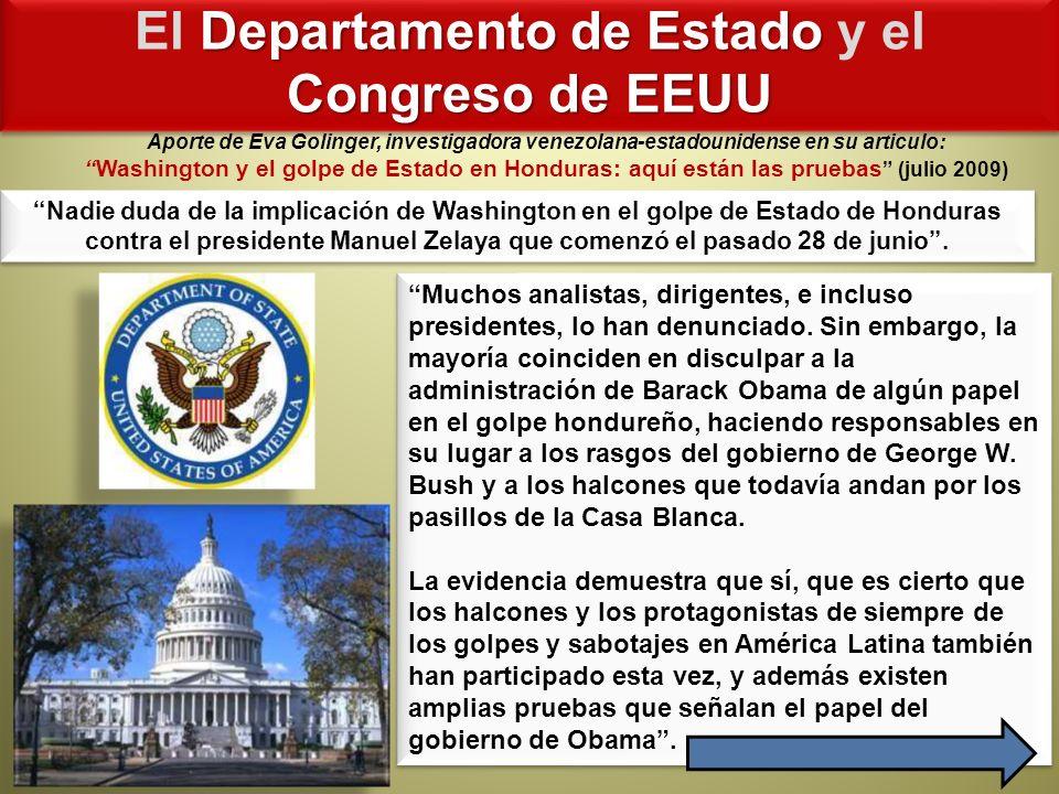 El Departamento de Estado y el Congreso de EEUU
