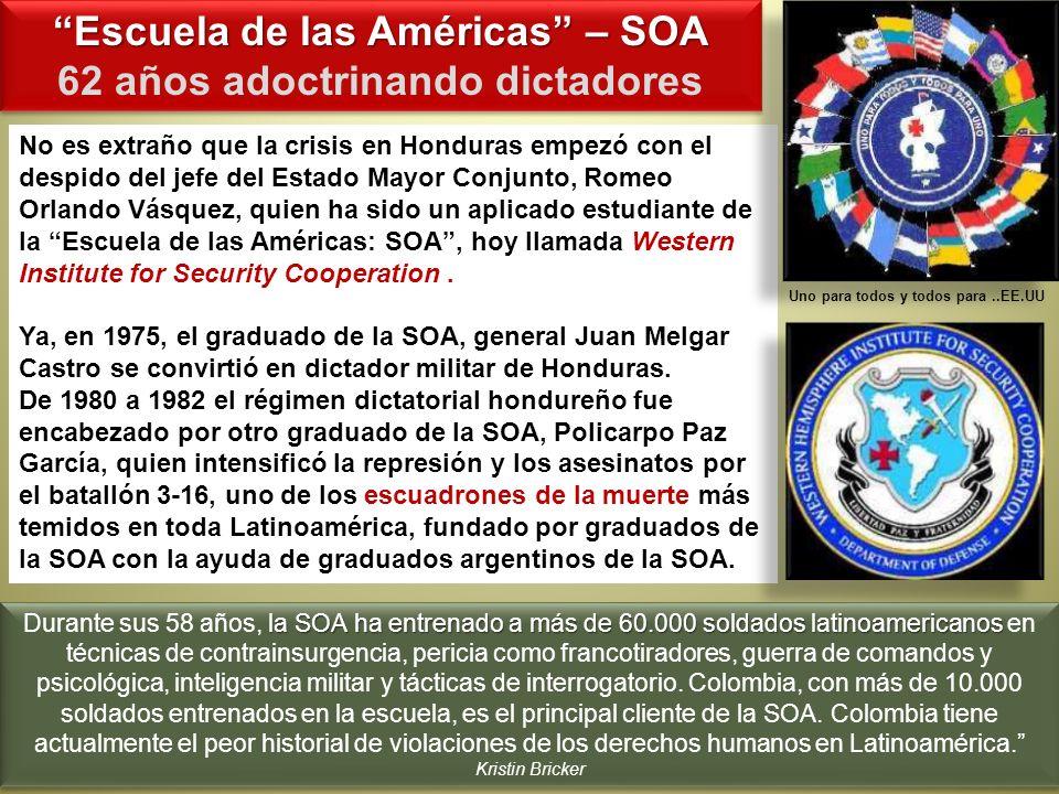 Escuela de las Américas – SOA 62 años adoctrinando dictadores