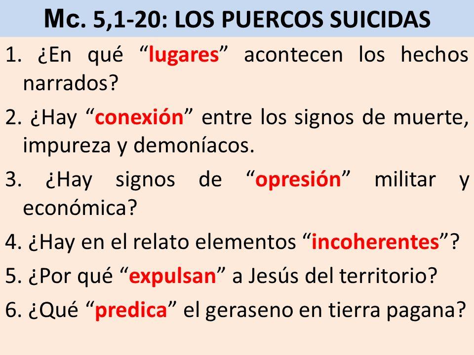 Mc. 5,1-20: LOS PUERCOS SUICIDAS