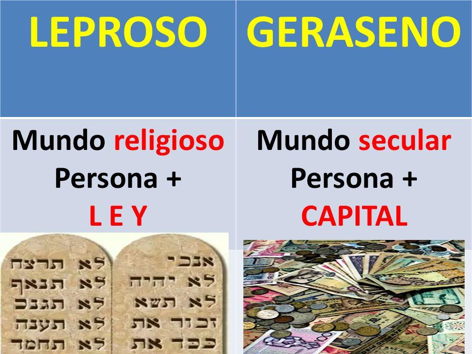 LEPROSO GERASENO Mundo religioso Persona + L E Y Mundo secular
