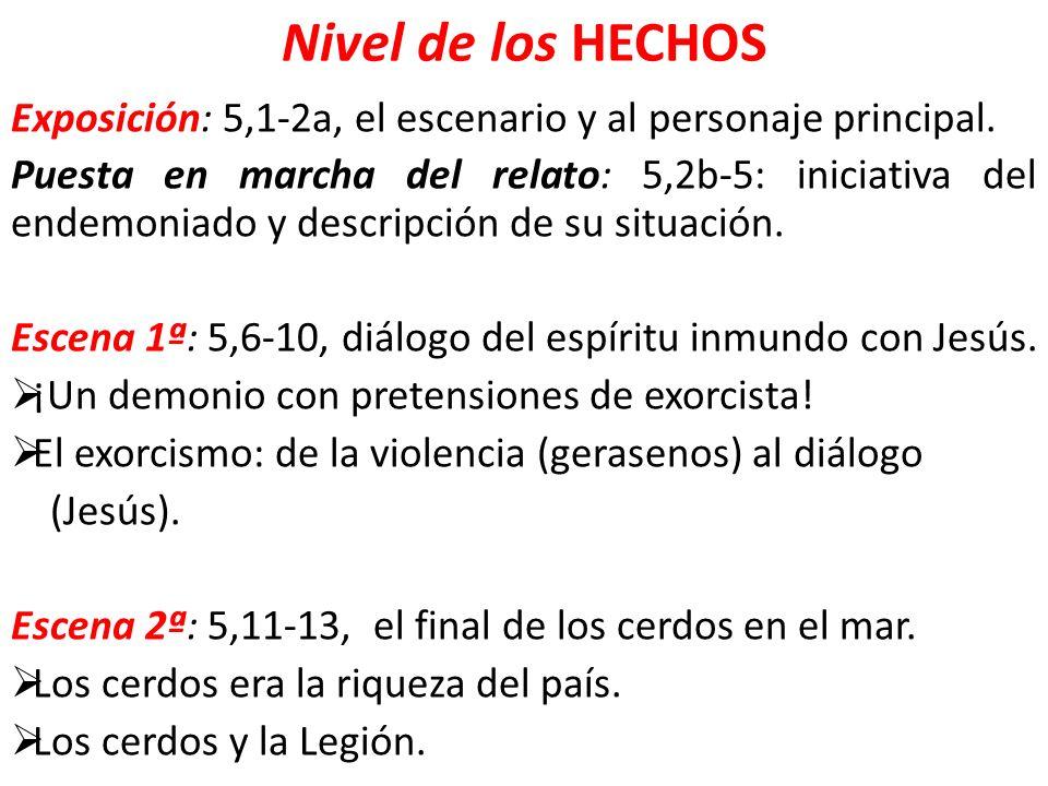 Nivel de los HECHOS Exposición: 5,1-2a, el escenario y al personaje principal.
