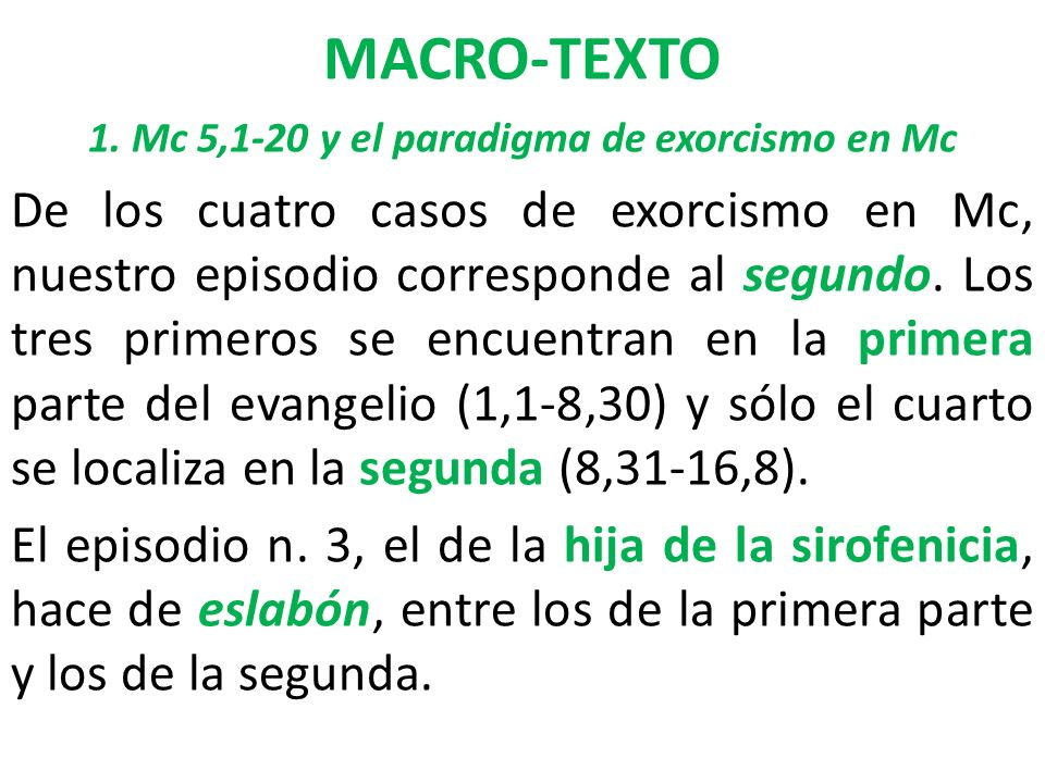 1. Mc 5,1-20 y el paradigma de exorcismo en Mc