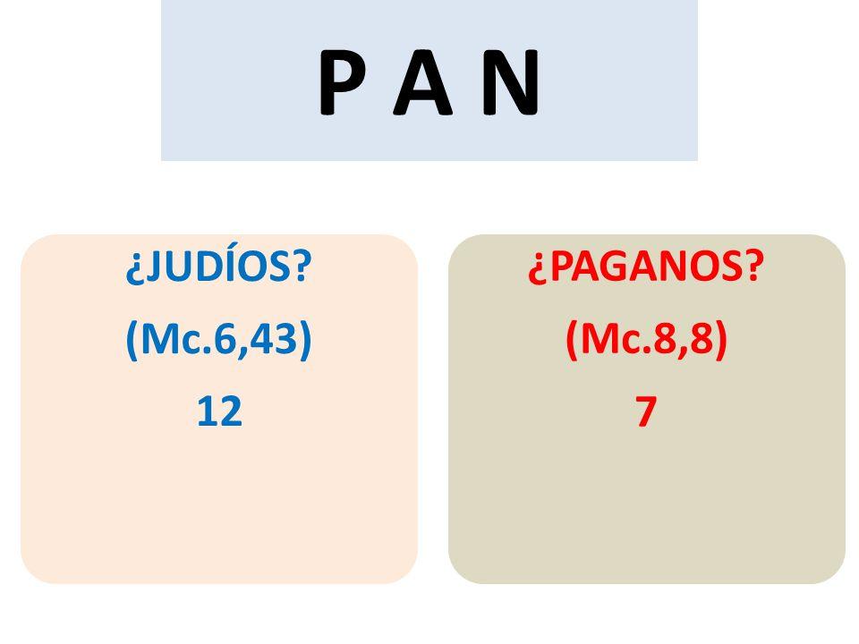 P A N ¿JUDÍOS (Mc.6,43) 12 ¿PAGANOS (Mc.8,8) 7