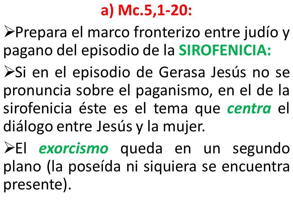 a) Mc.5,1-20: Prepara el marco fronterizo entre judío y pagano del episodio de la SIROFENICIA: