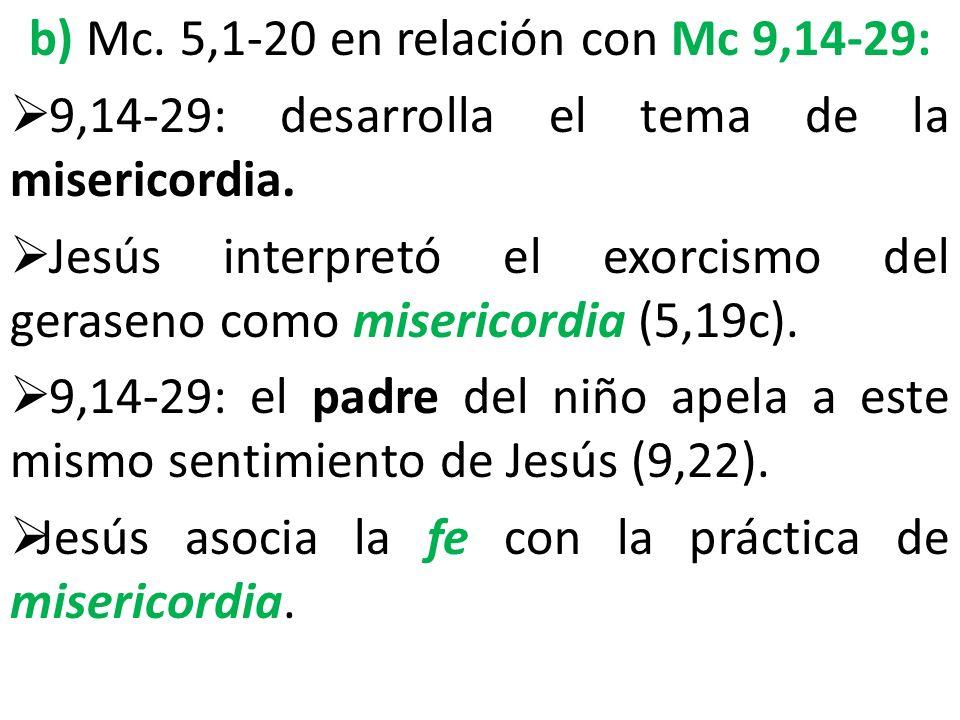 b) Mc. 5,1-20 en relación con Mc 9,14-29: