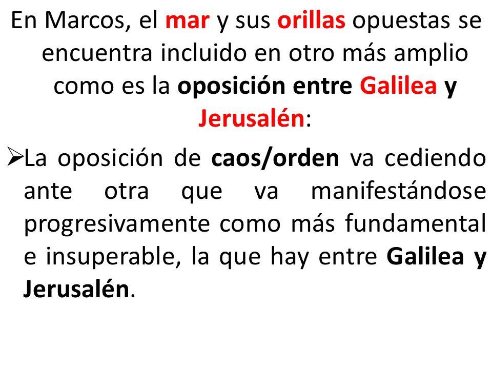 En Marcos, el mar y sus orillas opuestas se encuentra incluido en otro más amplio como es la oposición entre Galilea y Jerusalén:
