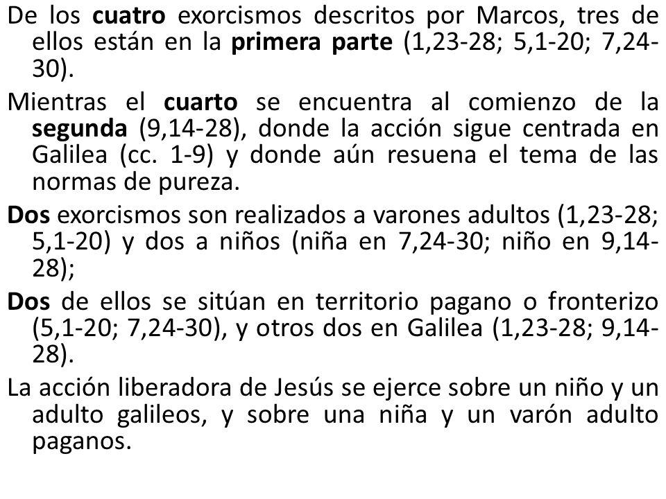 De los cuatro exorcismos descritos por Marcos, tres de ellos están en la primera parte (1,23-28; 5,1-20; 7,24-30).