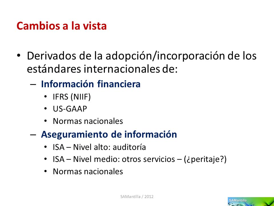 Cambios a la vista Derivados de la adopción/incorporación de los estándares internacionales de: Información financiera.