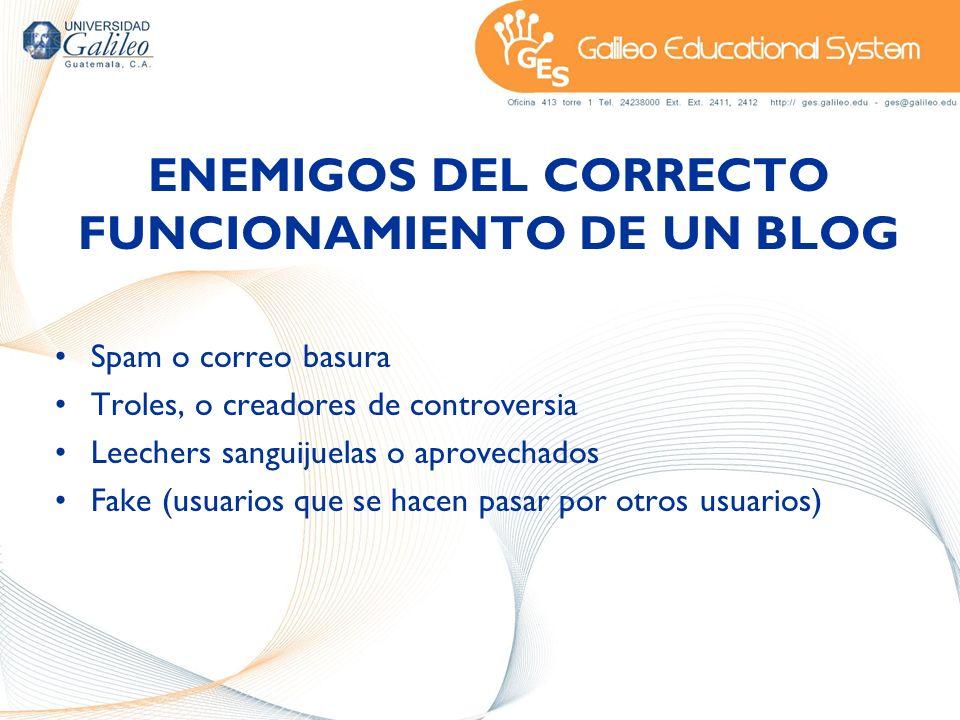 ENEMIGOS DEL CORRECTO FUNCIONAMIENTO DE UN BLOG