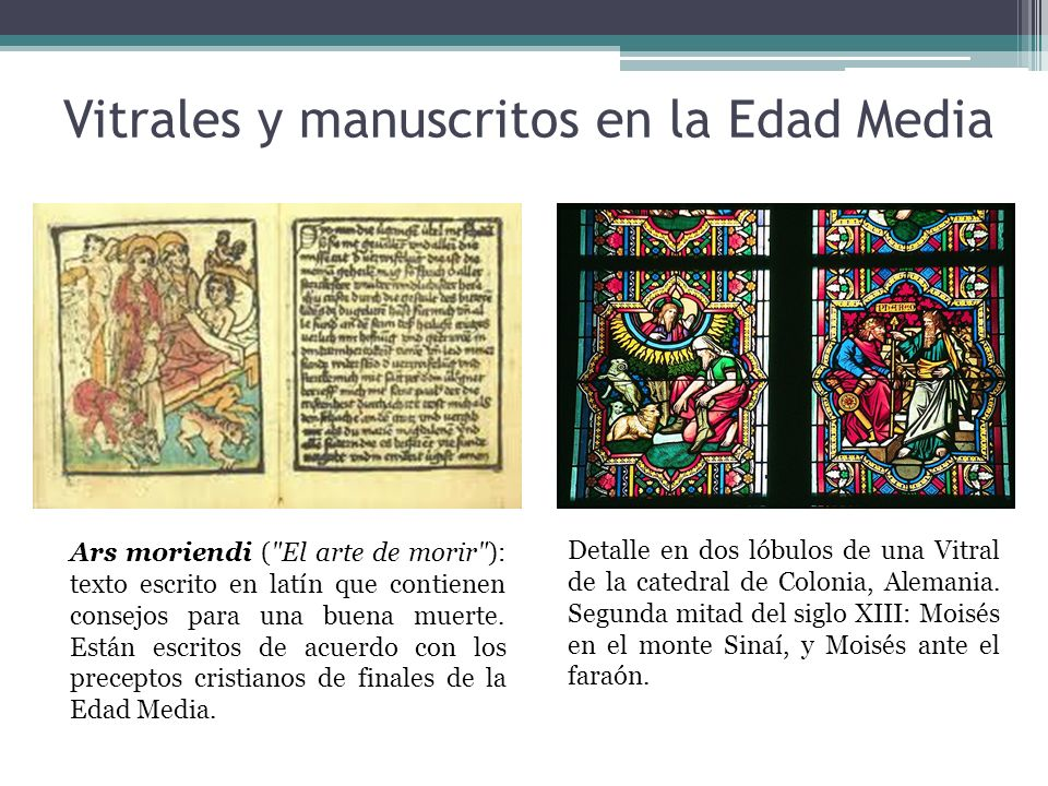 Vitrales y manuscritos en la Edad Media