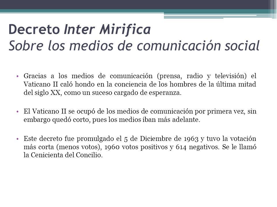 Decreto Inter Mirifica Sobre los medios de comunicación social