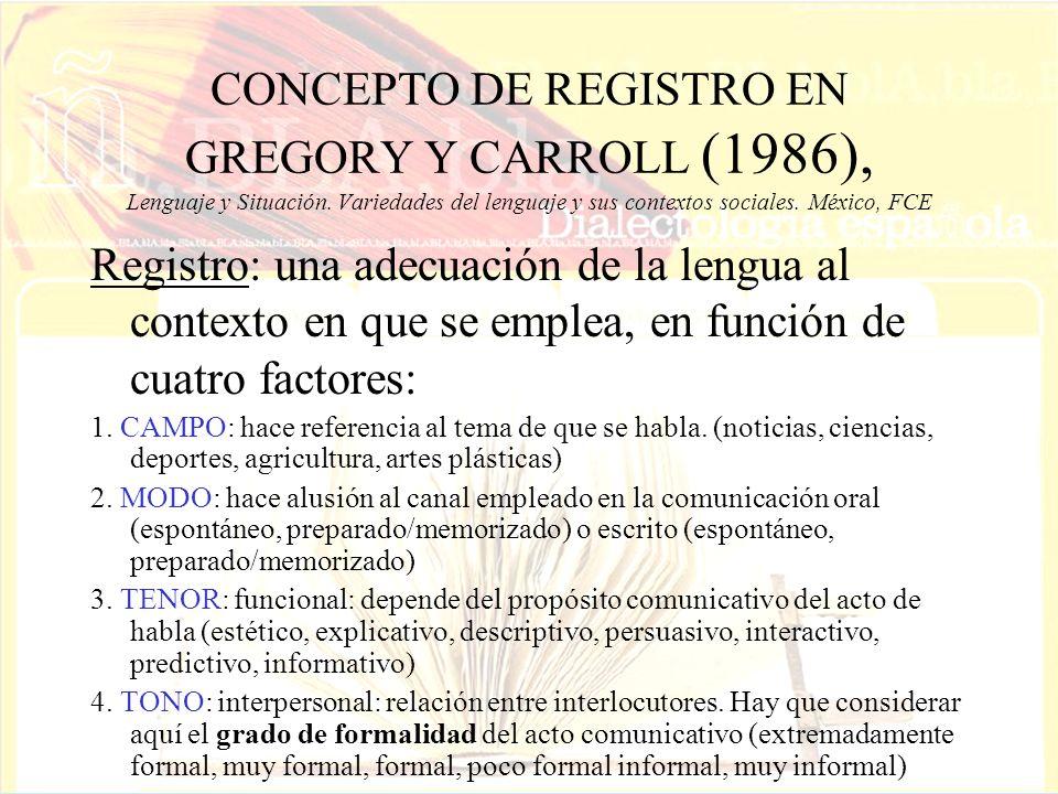 CONCEPTO DE REGISTRO EN GREGORY Y CARROLL (1986), Lenguaje y Situación