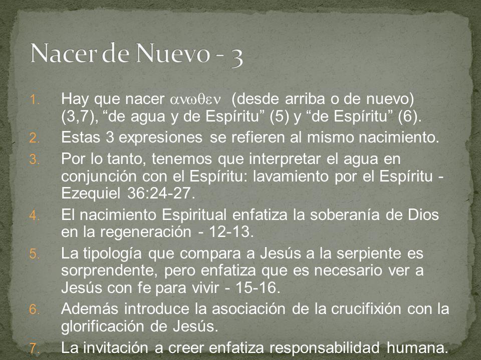 Nacer de Nuevo - 3 Hay que nacer  (desde arriba o de nuevo) (3,7), de agua y de Espíritu (5) y de Espíritu (6).