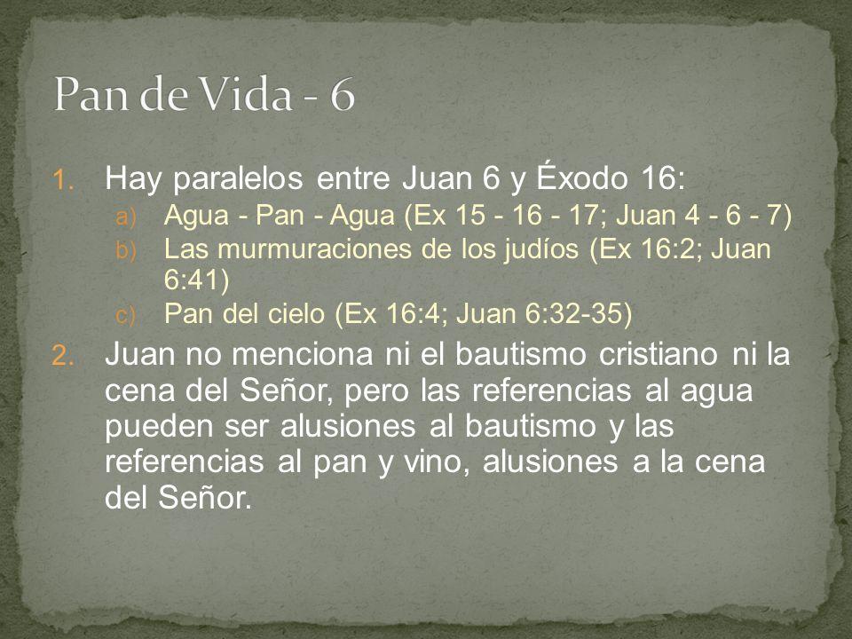 Pan de Vida - 6 Hay paralelos entre Juan 6 y Éxodo 16: