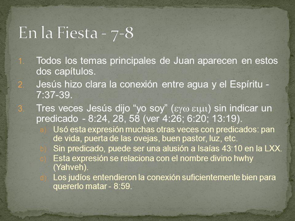En la Fiesta - 7-8 Todos los temas principales de Juan aparecen en estos dos capítulos.
