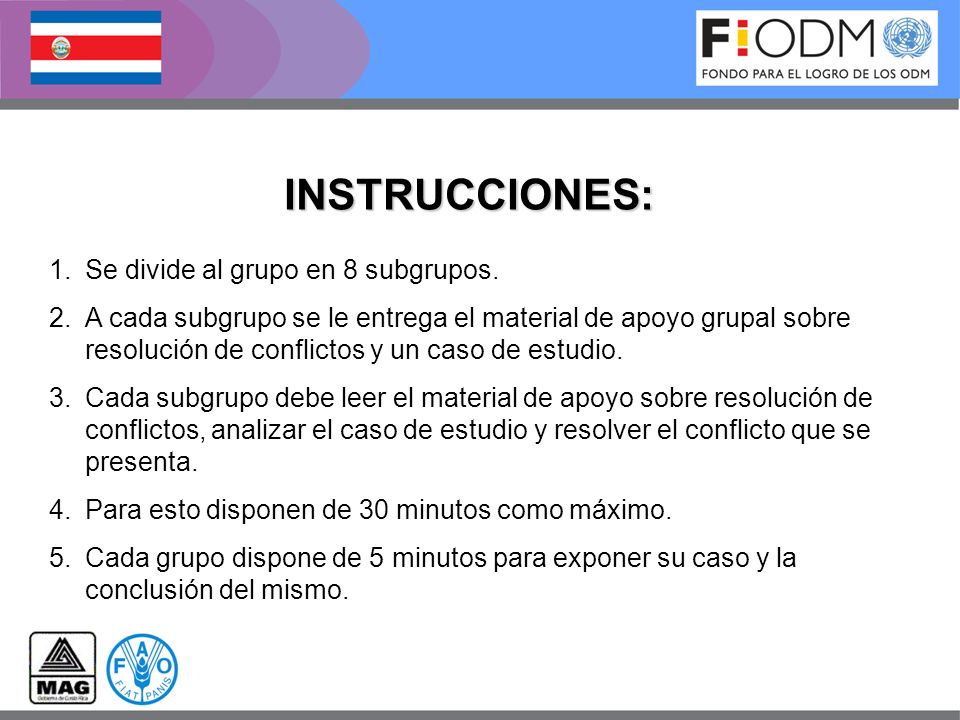 INSTRUCCIONES: Se divide al grupo en 8 subgrupos.