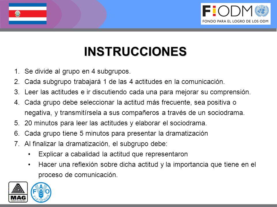 INSTRUCCIONES Se divide al grupo en 4 subgrupos.