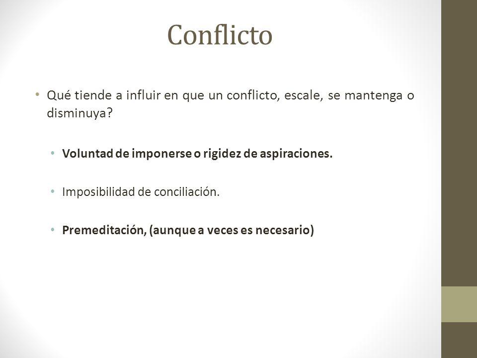 Conflicto Qué tiende a influir en que un conflicto, escale, se mantenga o disminuya Voluntad de imponerse o rigidez de aspiraciones.