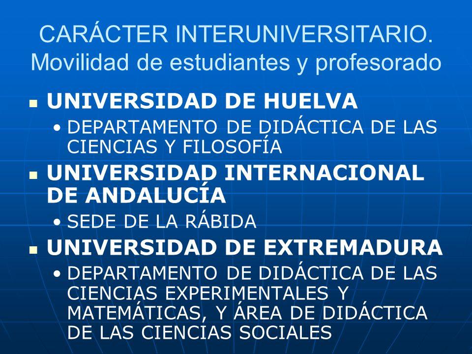CARÁCTER INTERUNIVERSITARIO. Movilidad de estudiantes y profesorado