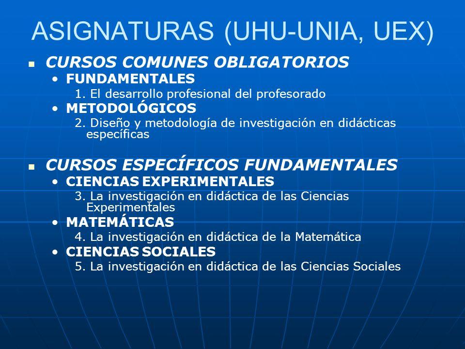 ASIGNATURAS (UHU-UNIA, UEX)