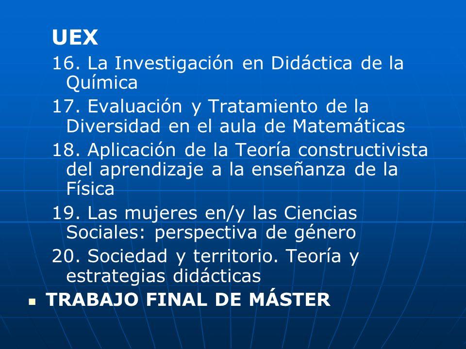 UEX 16. La Investigación en Didáctica de la Química