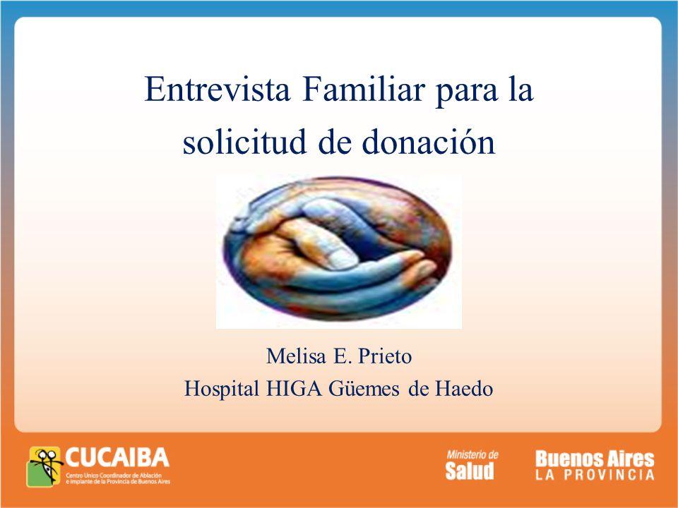 . Entrevista Familiar para la solicitud de donación Melisa E. Prieto