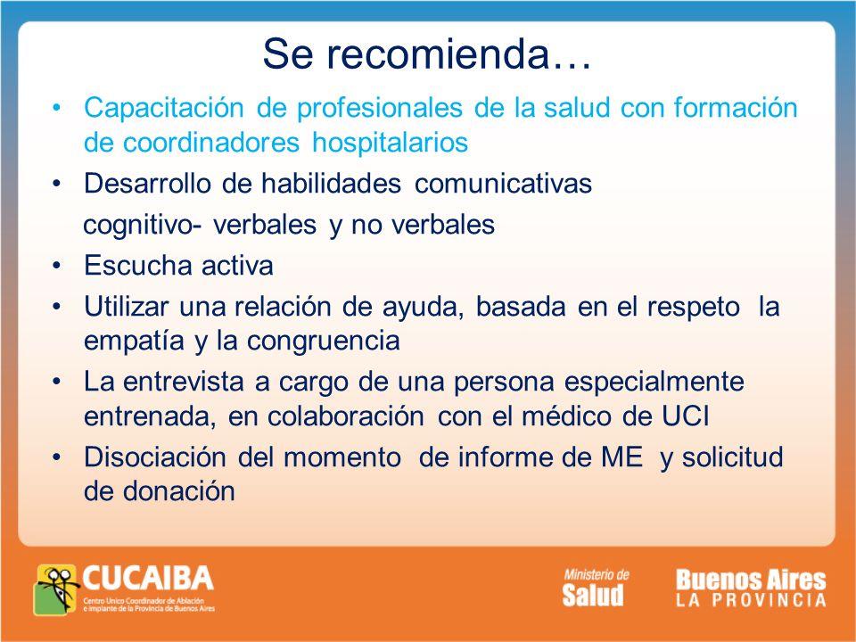 Se recomienda… Capacitación de profesionales de la salud con formación de coordinadores hospitalarios.