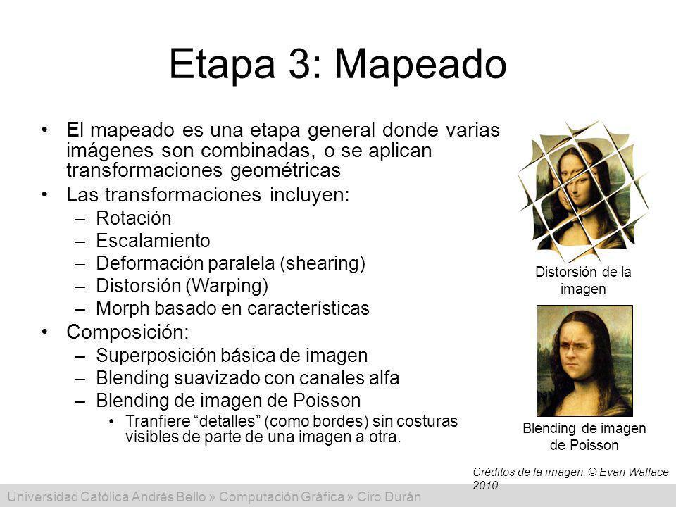 Etapa 3: Mapeado El mapeado es una etapa general donde varias imágenes son combinadas, o se aplican transformaciones geométricas.