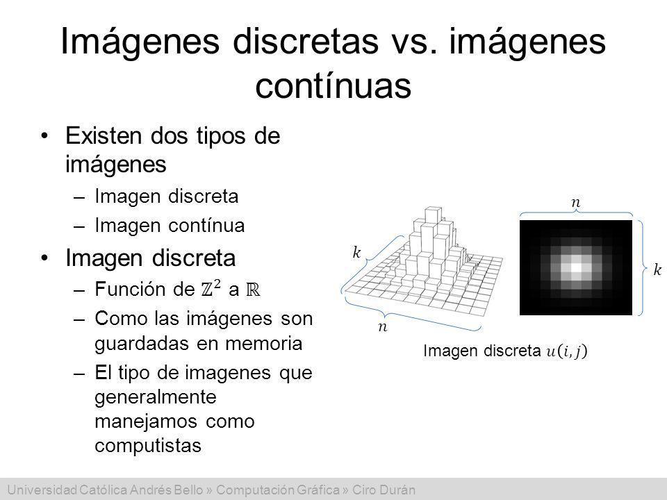 Imágenes discretas vs. imágenes contínuas
