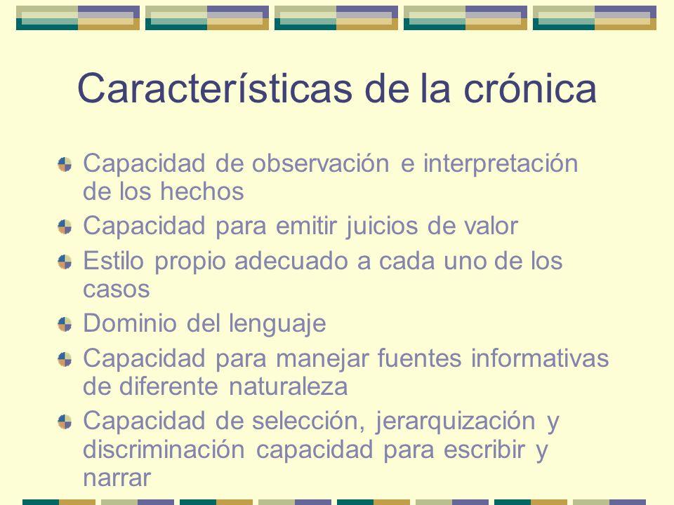 Características de la crónica