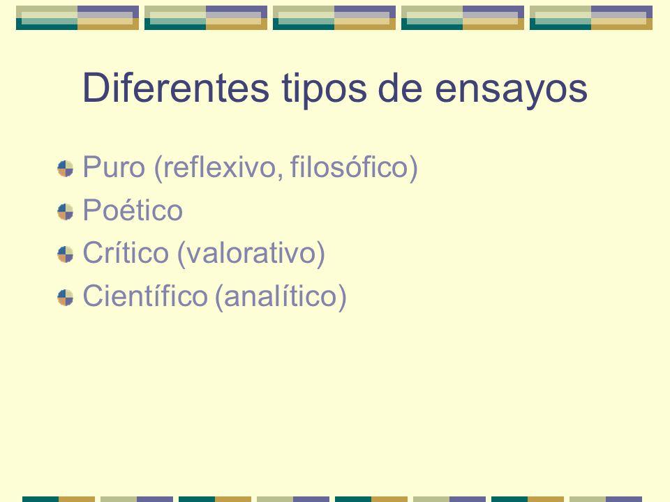 Diferentes tipos de ensayos